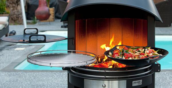 Cheminée d'extérieur - Barbecue Plancha Wok